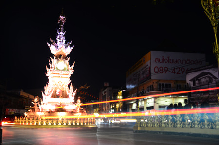entertaining: Chiang Rai clock-tower entertaining performance have lights and colors