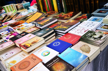 choose university: Book shop at Wat Sanghathan temple in Nonthaburi, Thailand.