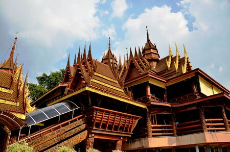 nonthaburi: Wooden Temple of Wat Sanghathan in Nonthaburi, Thailand. Stock Photo