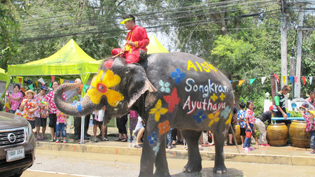 13 14 years: Songkran Festival is celebrated in a traditional New Years Day from April 13 to 15, with the splashing water with elephants on April 14, 2015 in Ayutthaya, Thailand.