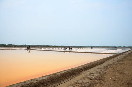 evaporacion: Los tailandeses manteniendo la sal de la agricultura de sal o sal estanque de evaporación para almacén en Bangkhunthein el 12 de abril de 2015, de Bangkok, Tailandia. Editorial