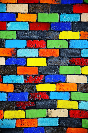 Colour Brick Wall Background 写真素材
