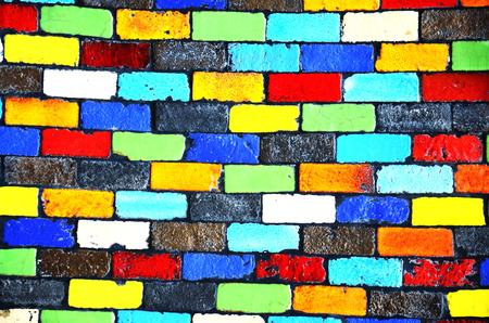 Colour Brick Wall Background photo