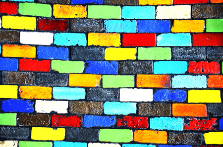 Colourful Brick Wall Background photo