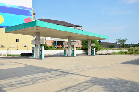 abandoned gas station: Abandoned gas pump Station because economy recession in Nonthaburi Thailand
