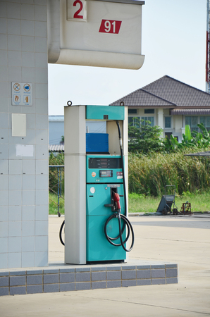 Abandoned gas pump Station because economy recession in Nonthaburi Thailand photo