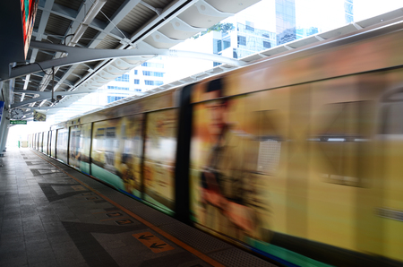 BTS or Skytrain stop receive people at Prathumwan Station on April 5, 2015 in Bangkok Thailand