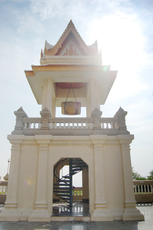 hill of the king: Wat Phra Mahathat chedi Pakdee Prakard. Temple was bulit to worship King Rama9 regime Situated on top hill of North BanKrut Beach in Prachuap Khiri Khan, Thailand.
