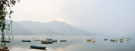 Panorama Phewa Lake of Pokhara in Annapurna Valley Nepal photo