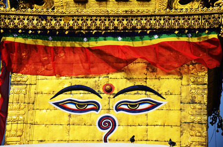 3rd ancient: Buddha eyes or Wisdom eyes at Swayambhunath Temple or Monkey Temple - holy asian religious symbol at Kathmandu Nepal.