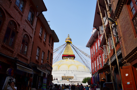 foreigner: Nepalese People and foreigner travel Boudhanath temple for pray on October 29, 2013 in Kathmandu Nepal