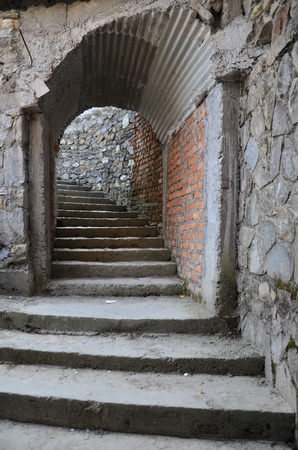 go inside: Stairway of entrance go to Inside of cave of Hell is Falls or Devil waterfall at Pokhara in Annapurna Valley Nepal.