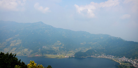 phewa: Panorama Phewa Lake of Pokhara look at on World Peace Pagoda in Annapurna Valley Nepal