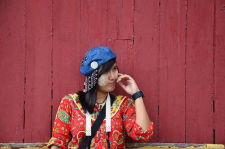 thanaka: Asian girl use of thanaka a traditional burmese