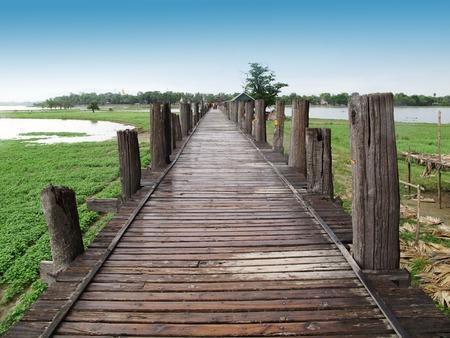 longest: U Bein  Wooden longest Bridge in Amarapura Myanmar.