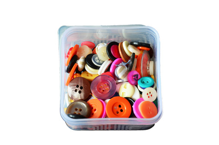sewing box: Button colorful in box for sewing clothes