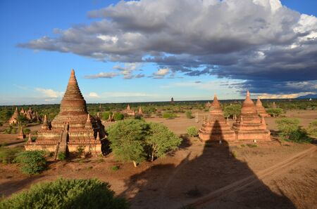 bu: View of Ancient City Bagan at Archaeological Zone from top of Bu le thi Pagoda