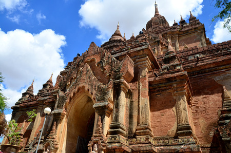 pagan: Htilominlo Temple is a Buddhist temple in Bagan formerly Pagan, at Myanmar Stock Photo