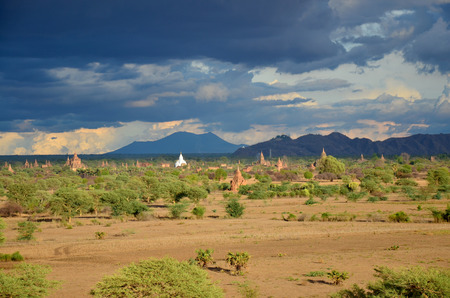 pagan: Ancient City in Bagan (Pagan) Archaeological Zone, Myanmar with over 2000 Pagodas and Temples.