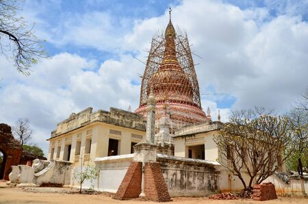pagan: Renovate pagoda at Ancient City in Bagan (Pagan) Archaeological Zone, Myanmar with over 2000 Pagodas and Temples.