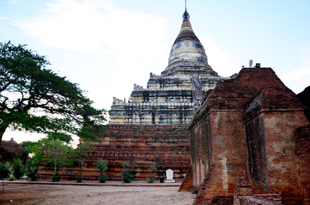 pagan: Shwesandaw Temple in Ancient City in Bagan (Pagan), Myanmar with over 2000 Pagodas and Temples.