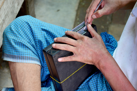 lacquerware: Burmese people carving Lacquerware burma style at Old Bagan  Stock Photo