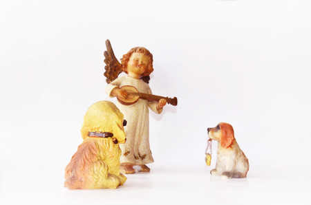 mandolin: Dogs listen Little angel play mandolin musical instrument figure
