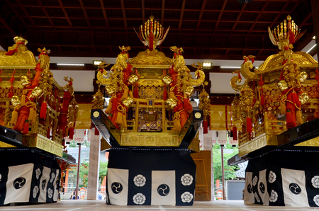 palanquin: The mikoshi (divine palanquin) for show traveler at Yasaka shrine or Gion Shrine on July 11, 2015 in Kyoto, Japan