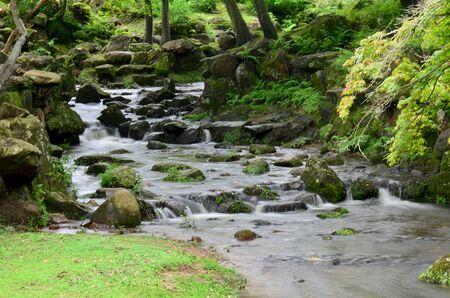 todaiji: Waterfalls inside garden of Todai-ji Temple in Nara, Japan