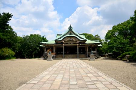 osakajo: Hokoku Shrine is a Shinto shrine It is one of several Toyokuni shrines built in honor of Toyotomi Hideyoshi at Osaka Castle Park on July 10, 2015 in Osaka, Japan