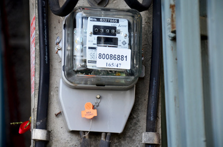 electric meter: Electric meter at home at home location in Nonthaburi, Thailand