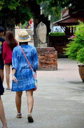chaimongkol: Thai people travel and walking at Wat Yai chaimongkol on October 9, 2015 in Ayutthaya, Thailand Stock Photo