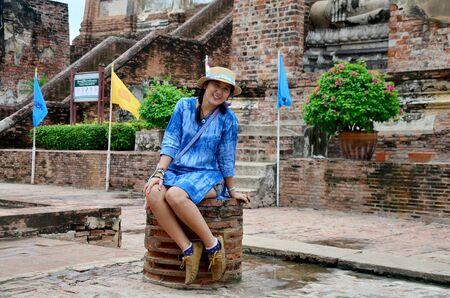 chaimongkol: Thai woman portrait at Wat Yai chaimongkol in Ayutthaya, Thailand