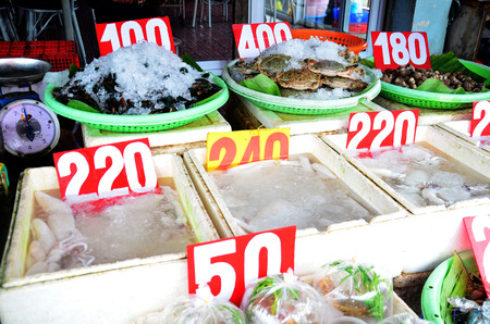 raw lobster: Fresh seafood for sale at market in Ayutthaya, Thailand