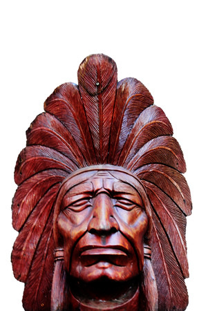 cultural artifacts: Wooden Native American head for decoration Stock Photo