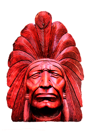 indian artifacts: Wooden Native American head for decoration Stock Photo
