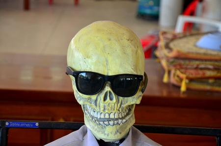 haunt: Resin skull wearing sunglasses