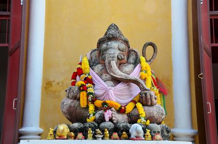 hindu goddess: Ancient Ganesha or Ganesh figure : Lord of Success (The Hindu Elephant-Deity) at Prasat Nakhon Luang, Ruin of Ayutthaya in Thailand Editorial