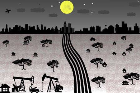 oilwell: Cityscape of countryside in night time with full moon