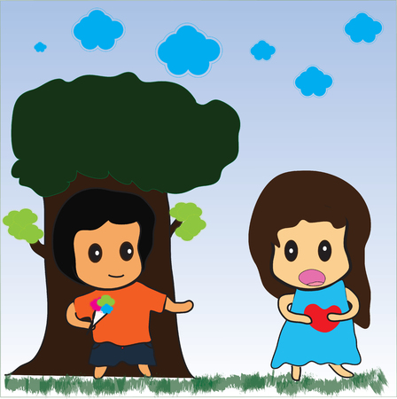 Art design cartoon boy and girl friendship Ilustracja