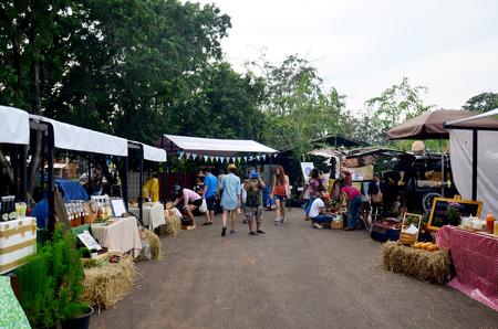 ratchasima: Thai people travel and shopping at market fair on November 29, 205 in Nakhon Ratchasima, Thailand.