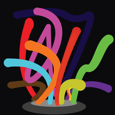 Colorful line movement with black background