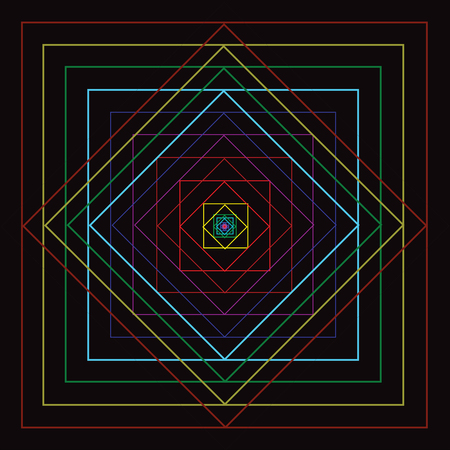 Colorful square line movement with black background