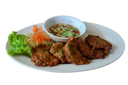 patty cake: Fried fish patty or Curried fish cake thai name Tod mun Stock Photo