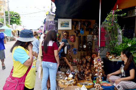 amphawa: People travel and portrait at Amphawa Floating Market on December 6, 2015 in Samut Songkhram, Thailand