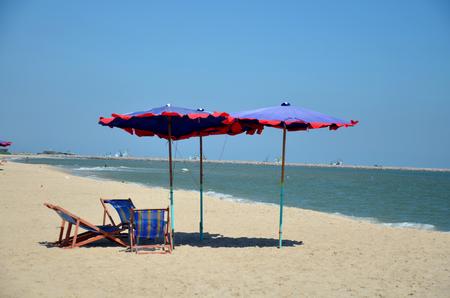 cha: Furniture on Cha am Beach in Phetchaburi, Thailand