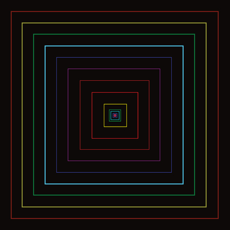 Colorful line square movement with black background