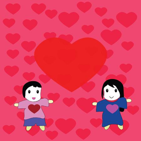 Art design cartoon for happy valentine day