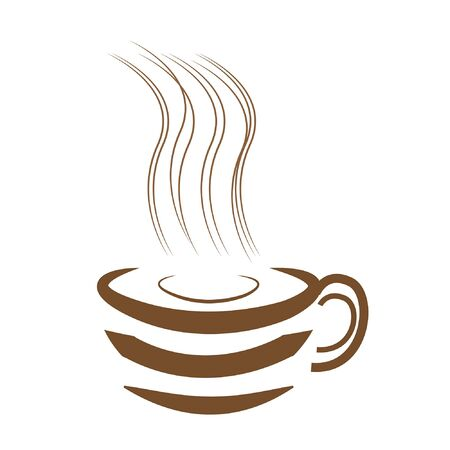 Art design hot coffee with white background
