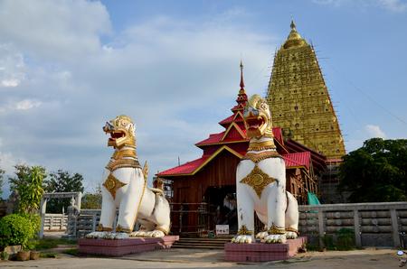 wiwekaram: Singha at Chedi Buddhakhaya location at near Wat Wang Wiwekaram or Wat Mon, is a symbol of Sangkhlaburi on December 3, 2015 in Kanchanaburi, Thailand